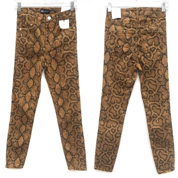 Zara Python Snake Print Stretch Skinny Jeans NEW
